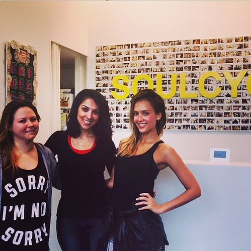 Jessica Alba fit in a morning SoulCycle class before beginning the rest of her day.