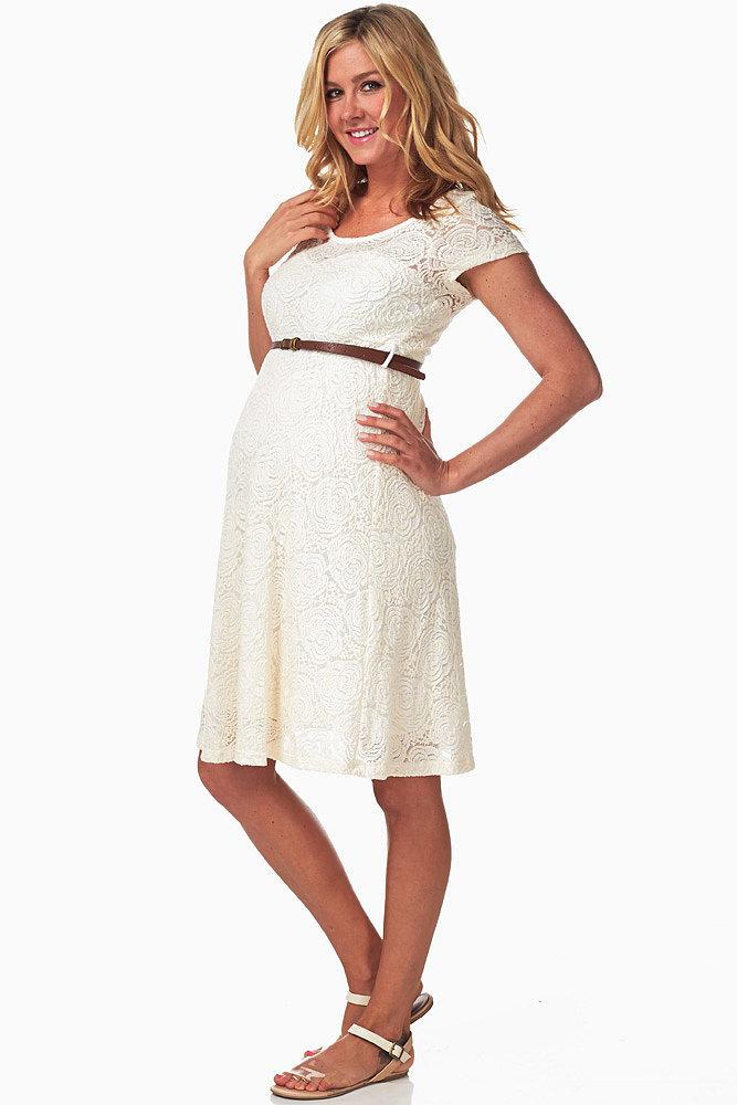 Pink Blush Ivory Lace Belted Dress