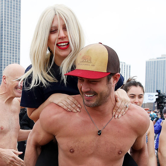 Shirtless Taylor Kinney and Lady Gaga at Polar Plunge 2015