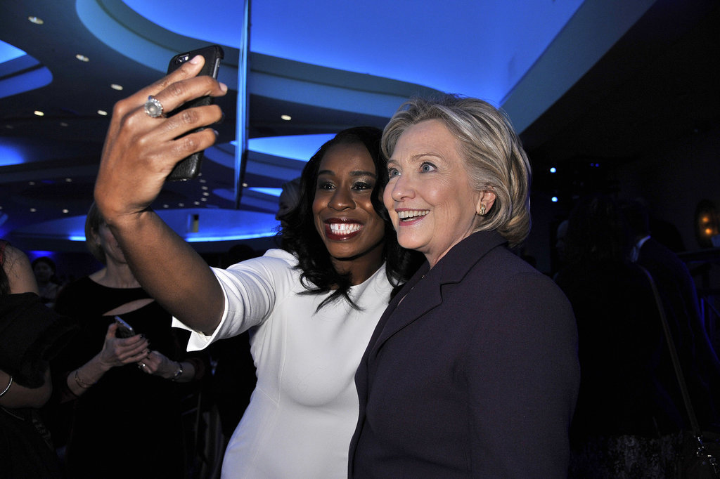Uzo Aduba and Hillary Clinton took a smiley selfie at the Emily's List 30th Anniversary Gala in Washington DC in March 2015.