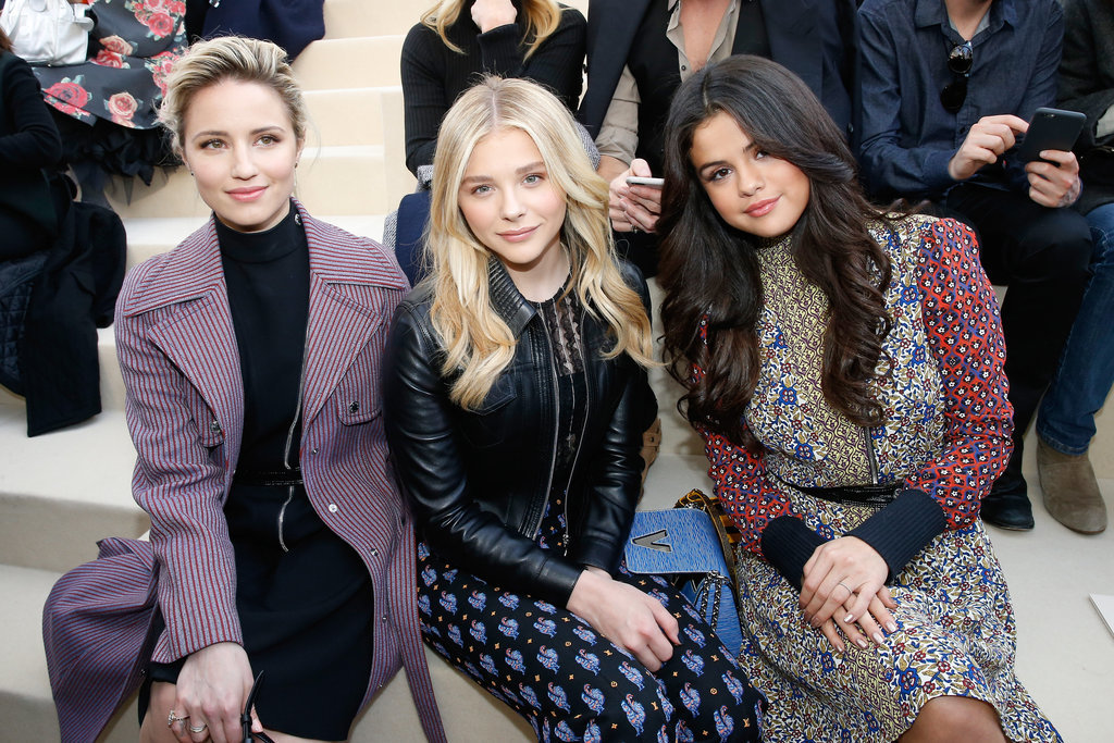 Dianna Agron, Chloë Grace Moretz, and Selena Gomez made a stylish trio in the front row at Louis Vuitton.