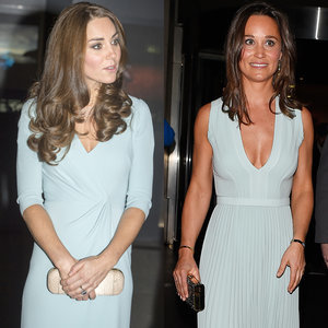 Kate Middleton and Pippa Middleton in Blue Dresses