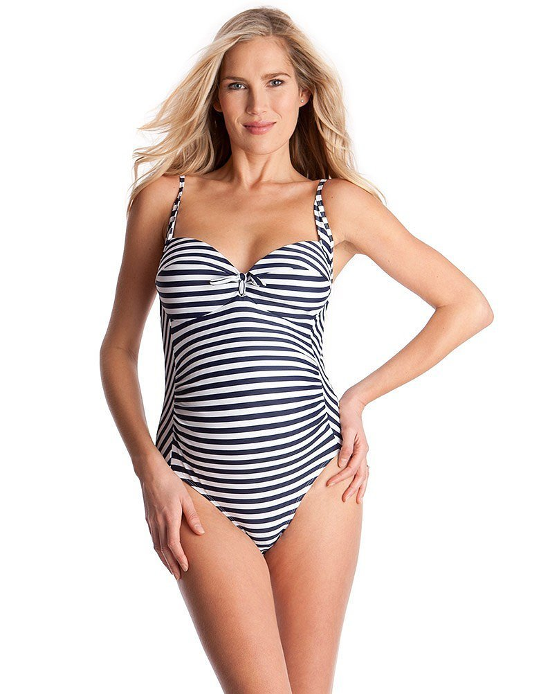 Third Trimester: Seraphine Nautical-Striped Maternity Swimsuit