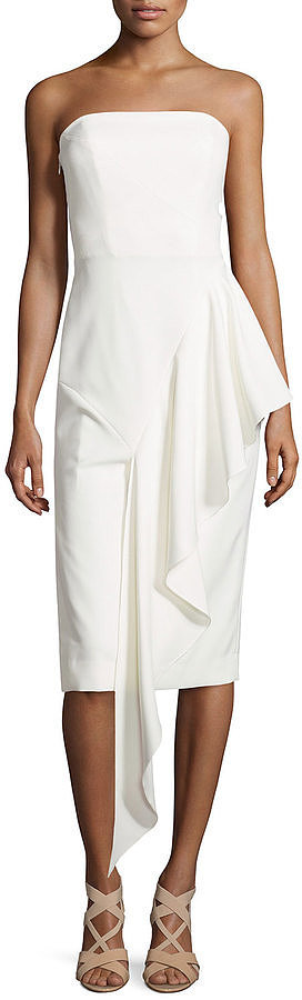Milly Strapless Cascading Ruffle Dress