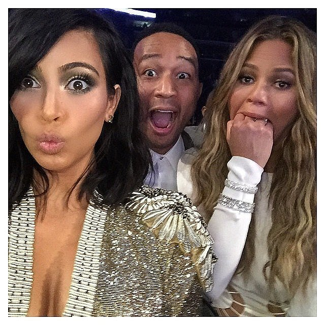 """It's common knowledge that Kim Kardashian, Chrissy Teigen, and John Legend are friends, but we didn't expect this reaction to Beck beating Beyoncé in the album of the year category at the 2015 Grammys. """"This is the Beck won that award face?!?!?!"""" Kim captioned the moment."""