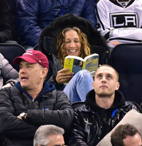 Sarah Jessica Parker celebrates 50th birthday at hockey game with son James who looks like a Culkin