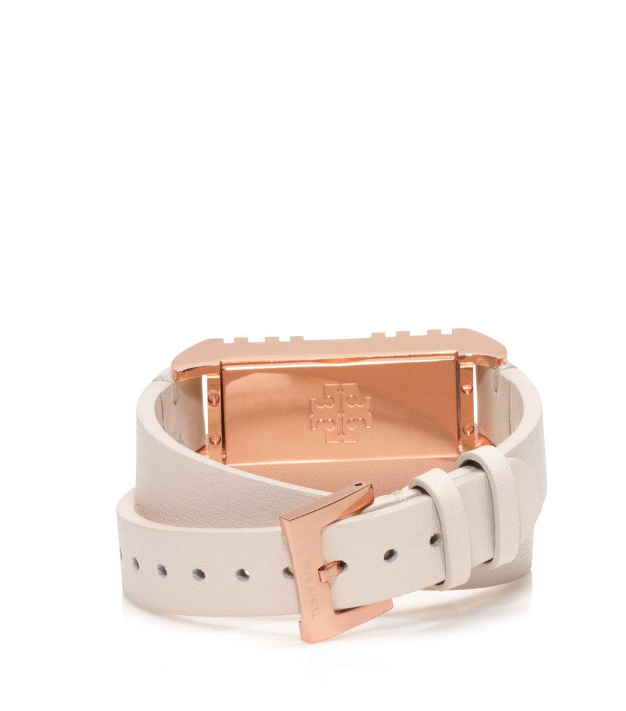 Tory Burch For Fitbit Fret Double-Wrap Bracelet in Light Oak/Rose Gold ($175)