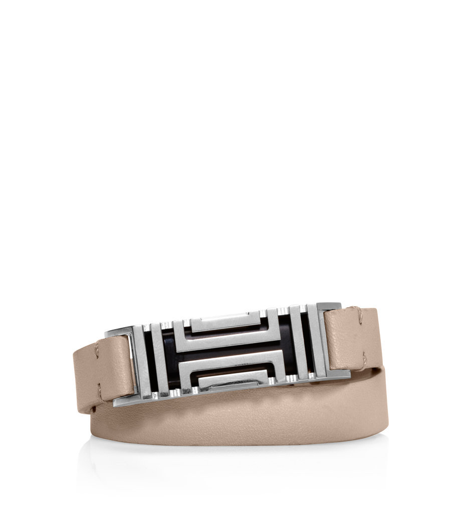Tory Burch For Fitbit Fret Double-Wrap Bracelet in French Gray/Tory Silver ($175)