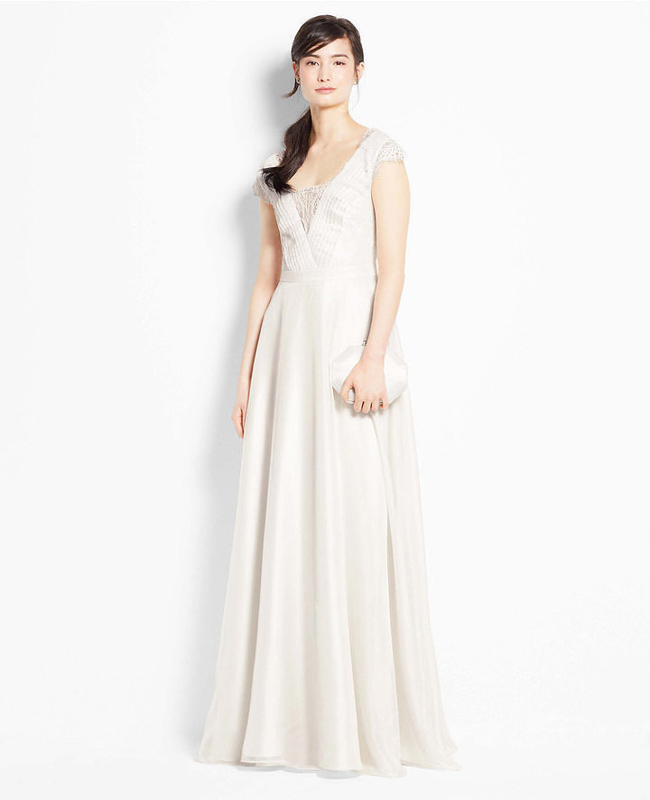 Ann taylor lace cap sleeve wedding dress 14 gorgeous for Wedding dresses ann taylor
