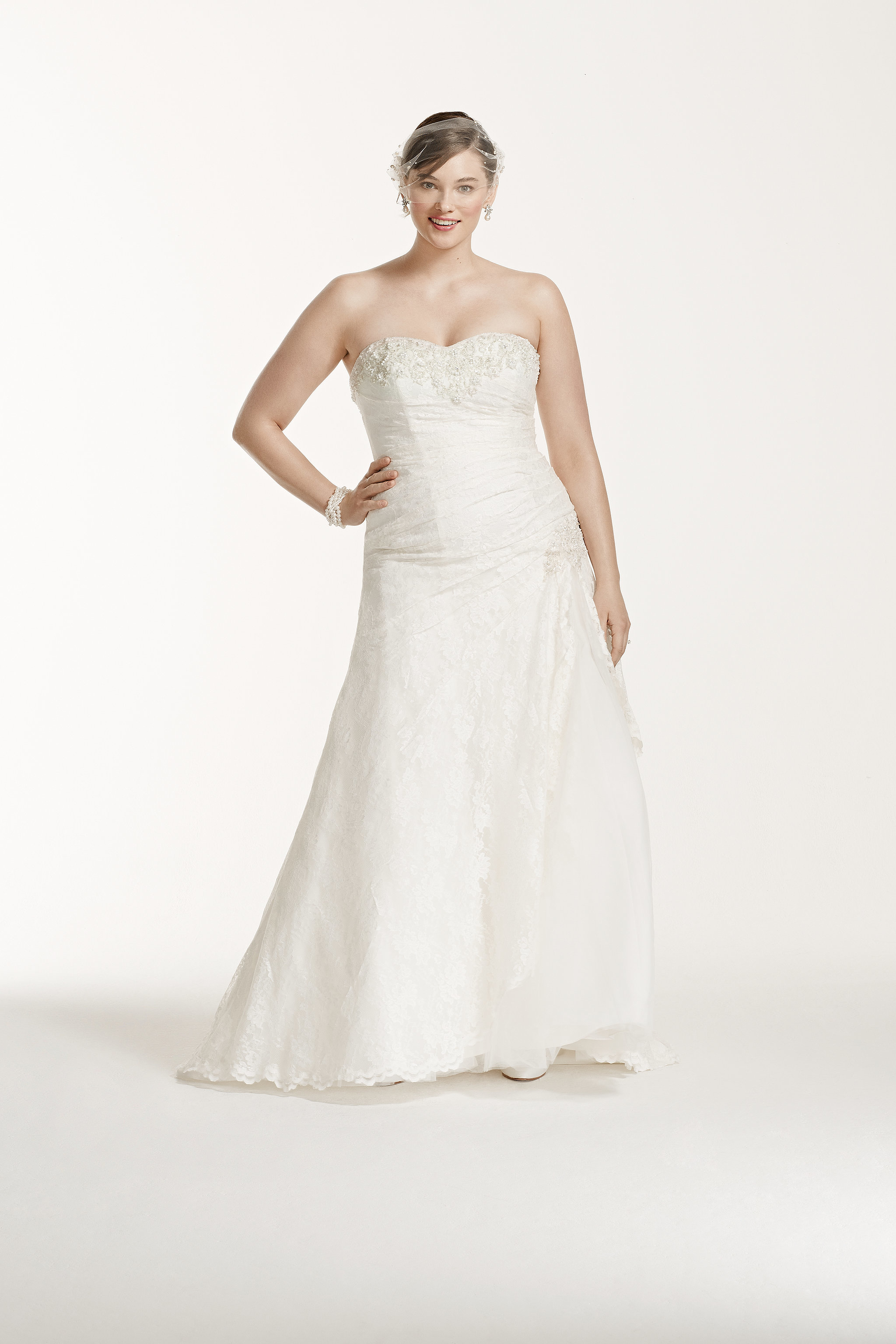 David s Bridal Collection Strapless Lace A Line Gown