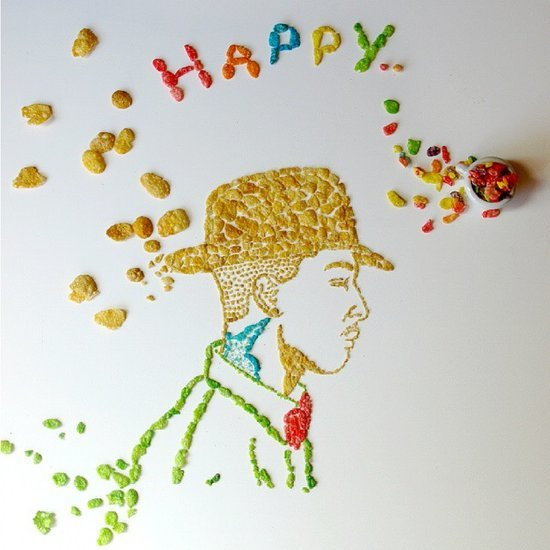 Celebrity Portraits Made Out of Breakfast Cereal