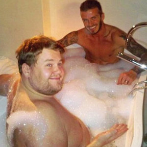 James Corden and David Beckham in the Bath