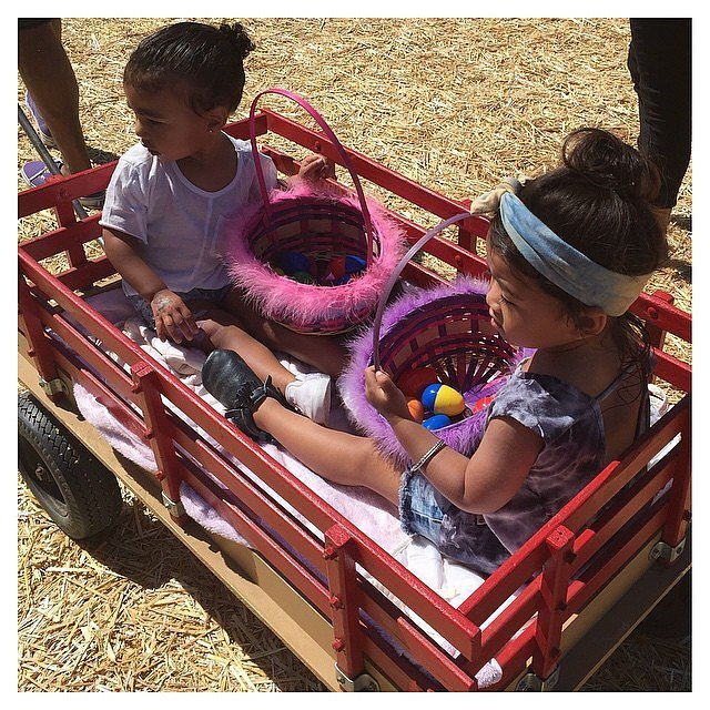 North and Ryan went looking for eggs in a wagon.