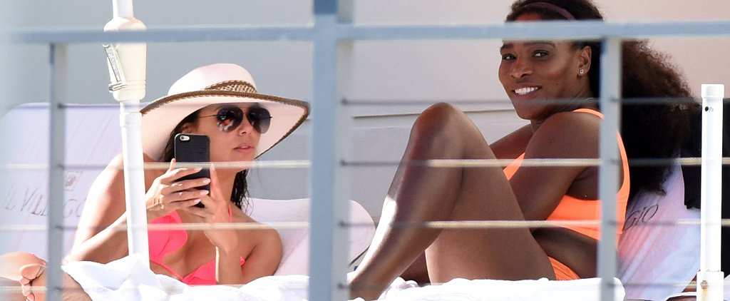 Bikini-Clad Serena Williams and Eva Longoria Spend Easter Sunday by the Pool