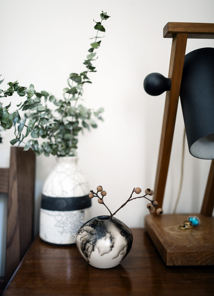 vintage detail with lamp and vases