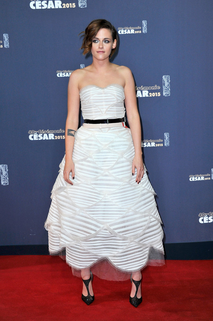 We don't think we've ever seen Kristen look as ladylike as she did here in a full-skirted strapless gown at the Cesar Film Awards in Feb. 2015.