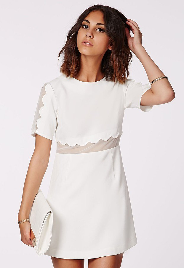 Missguided Verity Crepe Scallop Shift Dress White ($60)