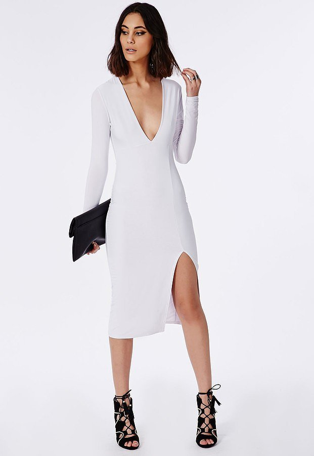 Missguided Side Split Slinky Midi Dress White ($50)