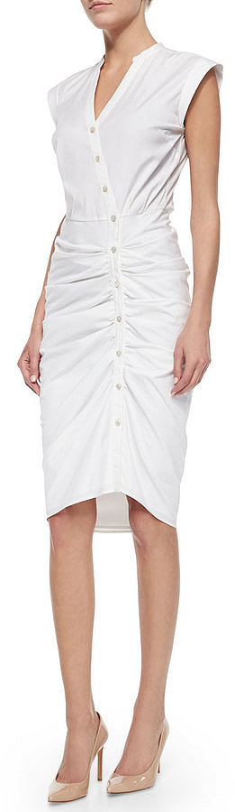 Veronica Beard Cap-Sleeve Ruched Shirtdress ($495)