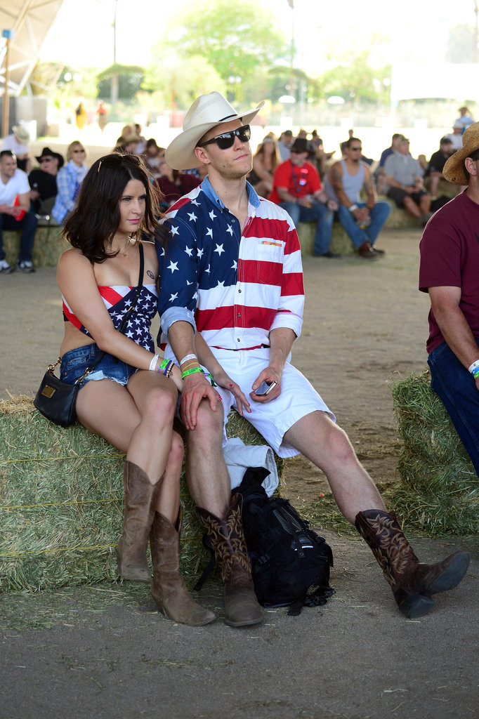 The couple who wears red, white, and blue together stays together! This pair matched at Stagecoach in 2014.