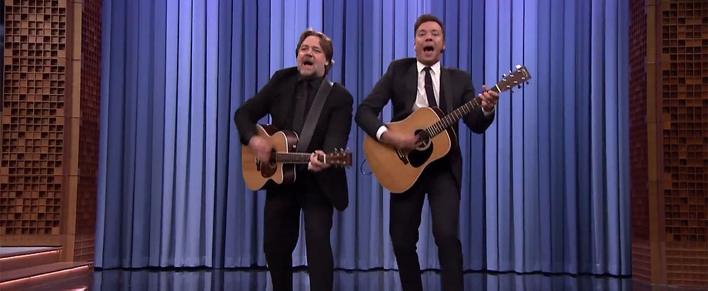"Jimmy Fallon and Russell Crowe Honor Earth Day by Singing ""Balls in Your Mouth"""