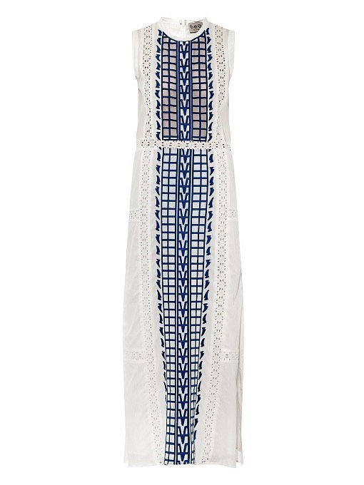 Sea Embroidered Cotton-Voile Maxi Dress ($690)