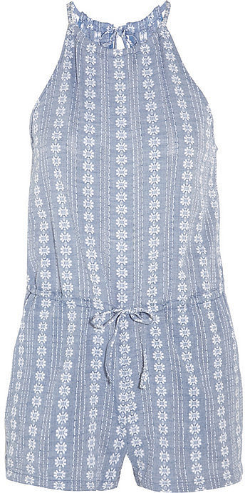 Madewell Maui Embroidered Cotton-Chambray Playsuit ($75)
