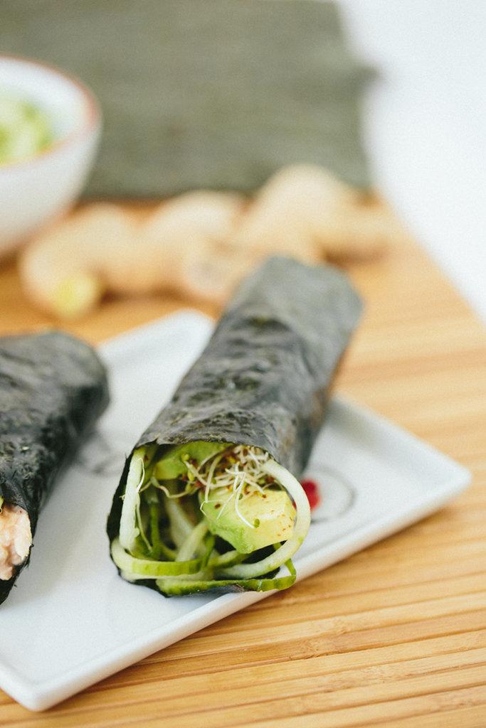 Cucumber Avocado Tuna Hand Rolls