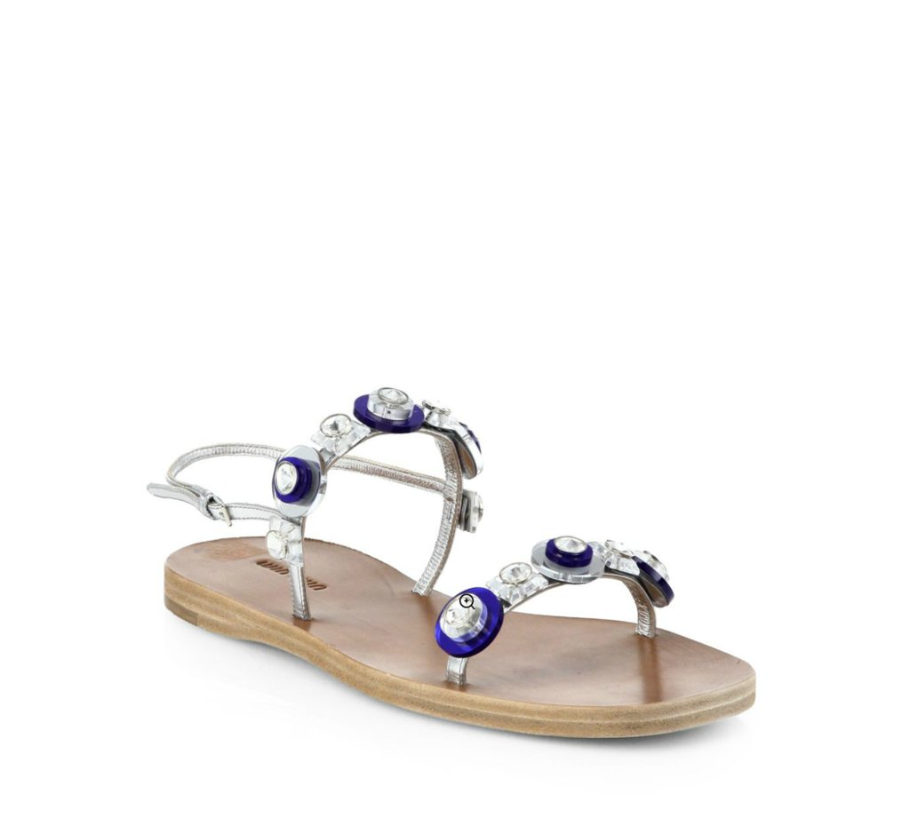 Miu Miu Jeweled Flat Slingback Sandals