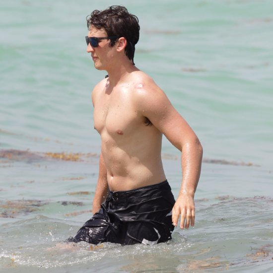 Miles Teller and His Girlfriend on the Beach in Miami