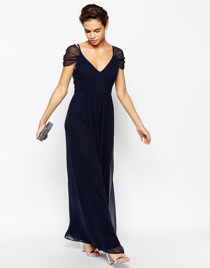 Elise ryan cap sleeved navy maxi dress 58 30 gorgeous for Navy maxi dresses for weddings