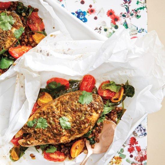 Salmon and Lentils en Papillote With Cilantro Recipe