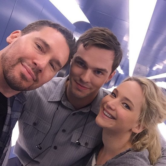 Jennifer Lawrence and Nicholas Hoult on the X-Men Set 2015