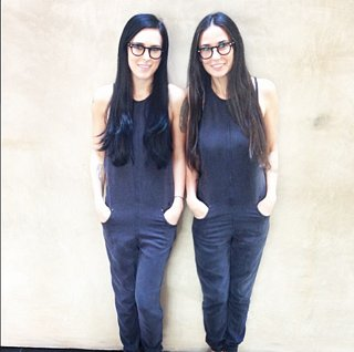 Demi Moore and Rumer Willis Black Jumpsuit Instagr
