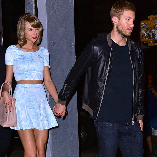 Taylor Swift Wearing Aqua Top and Skirt With Calvin Harris