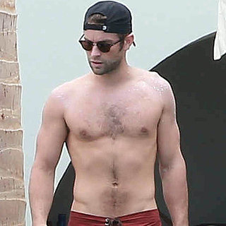 Shirtless Chace Crawford With Tony Romo in Mexico May 2015
