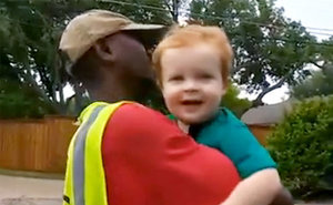 Toddler Says Goodbye to Garbage Man BFF