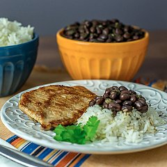 Latin Rice, Black Beans, and Pork Chops Recipe