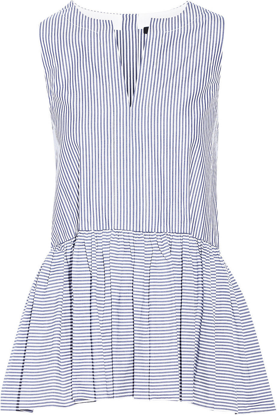 Tibi Striped Peplum Top
