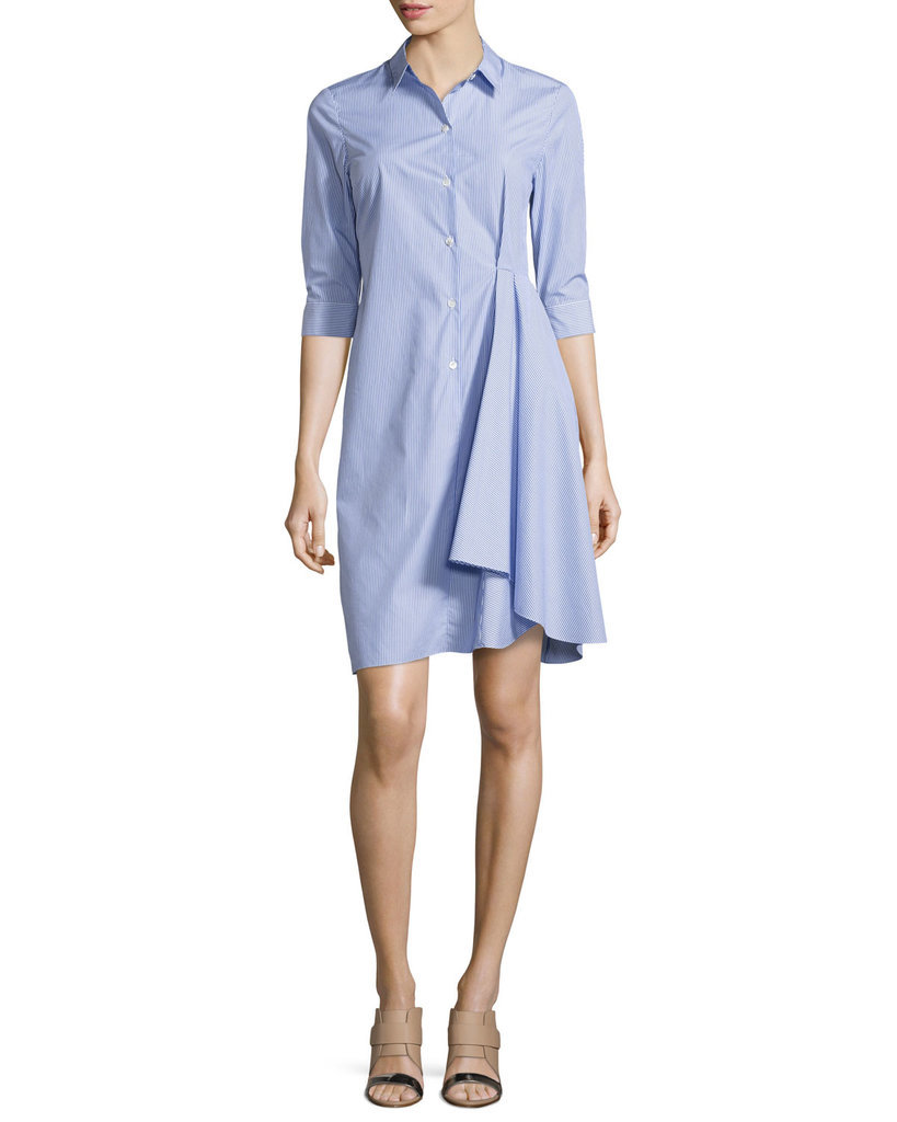Theory Striped Ruffled Shirtdress