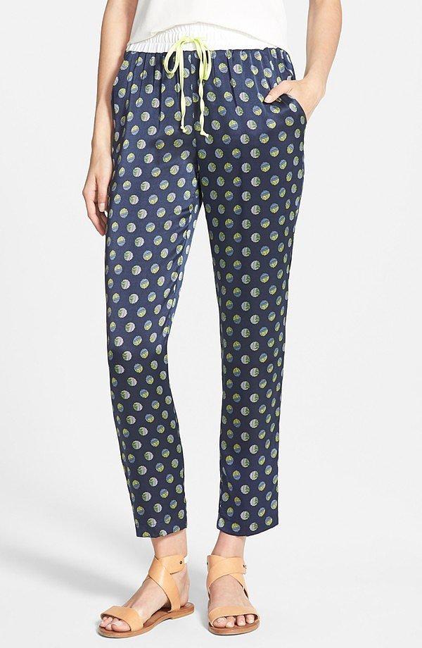 Amour Vert 'Yani' Print Silk Pants ($195)