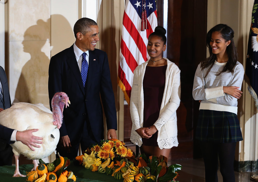 Sasha and Malia were on hand when President Obama pardoned the turkey for Thanksgiving in 2014.