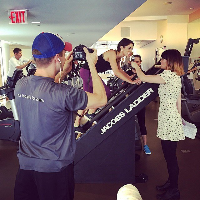 Nikki Reed taped an interview while working out.