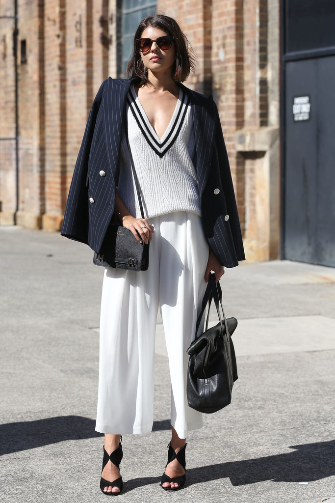 We love the preppy-cool vibes in this black and white look — it's as if the tennis pro got a fashion-girl makeover.