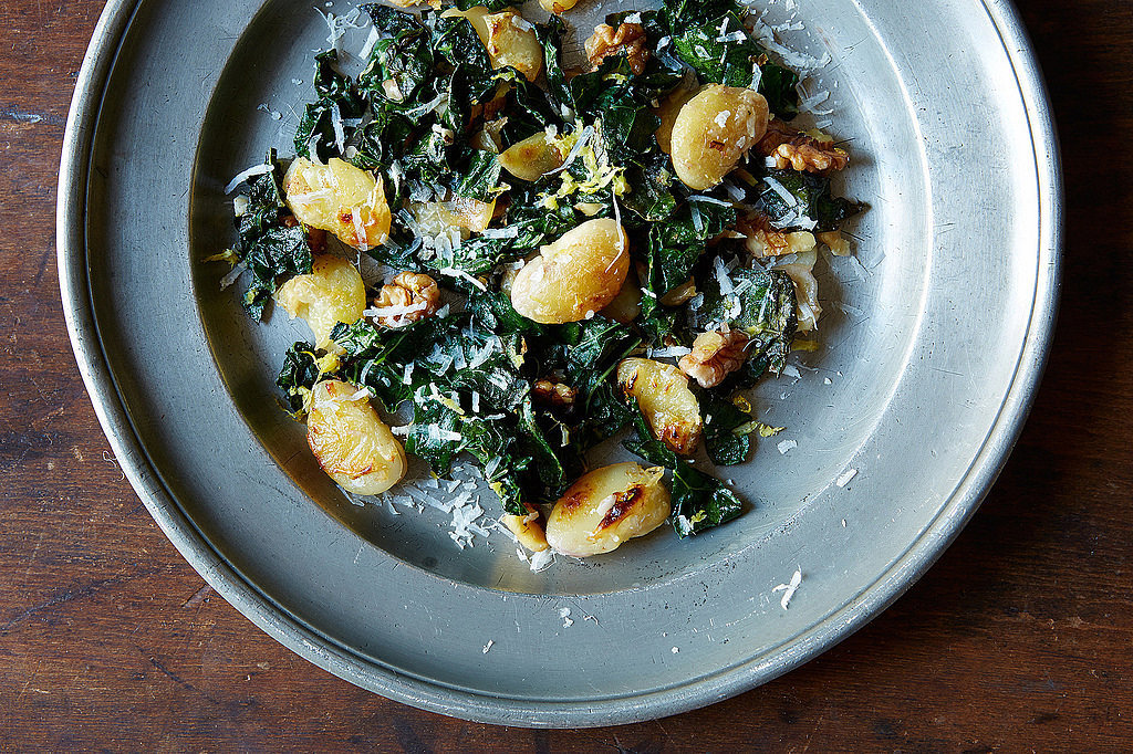 Pan-Fried Gigante Beans With Kale