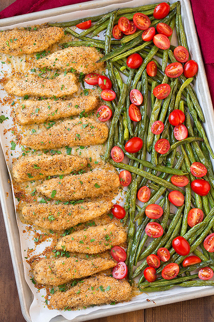 Garlic-Parmesan Chicken Tenders With Roasted Green Beans and Tomatoes ...