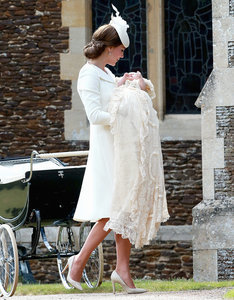 Princess Charlotte Arrives at Christening Wearing Same Historic Gown Worn by Prince George at His Christening
