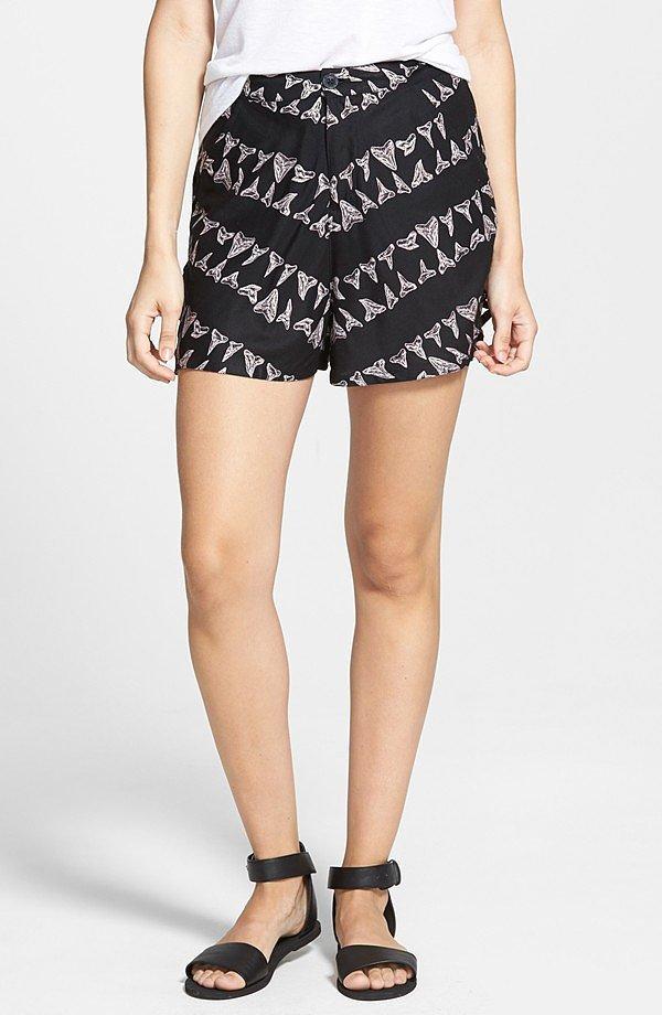 RVCA Lower Deck Print High Waist Shorts ($52)