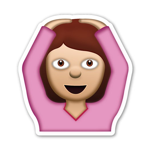 "Interpretation: ""I don't get it!""  Name + meaning: Face With OK Gesture. A person with arms above her head, making an 'OK' sign (circle) with the whole body. Also looks a bit like a ballerina, or putting hands on head. Also known as: Ballerina emoji; hands on head emoji"