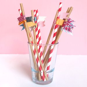 Washi Tape Straw DIY